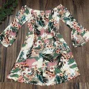 Amelia James tropical floral camo dress